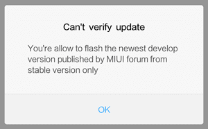 "muncul error ""Can't verify update"""