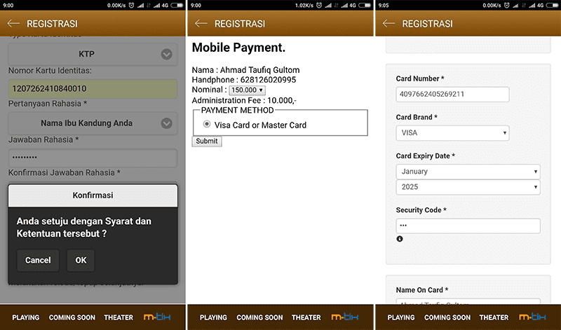 registrasi m-tix android