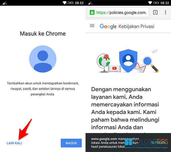 Buka browser Chrome